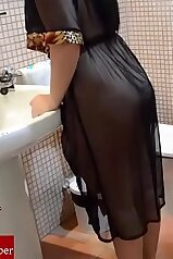 Bathroom banging with a hottie in a see-through outfit